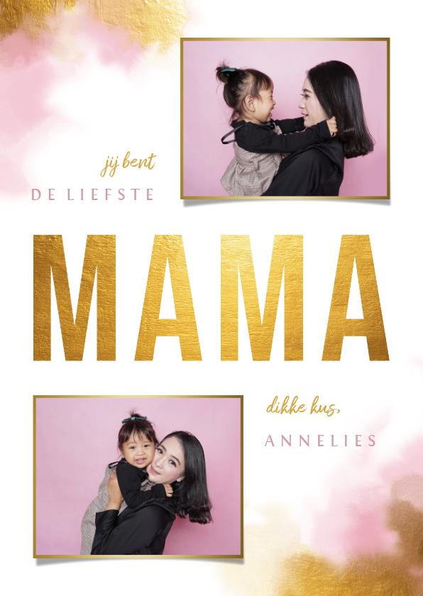 Moederdag kaarten - Moederdagkaart gouden 'MAMA' met foto's en waterverf
