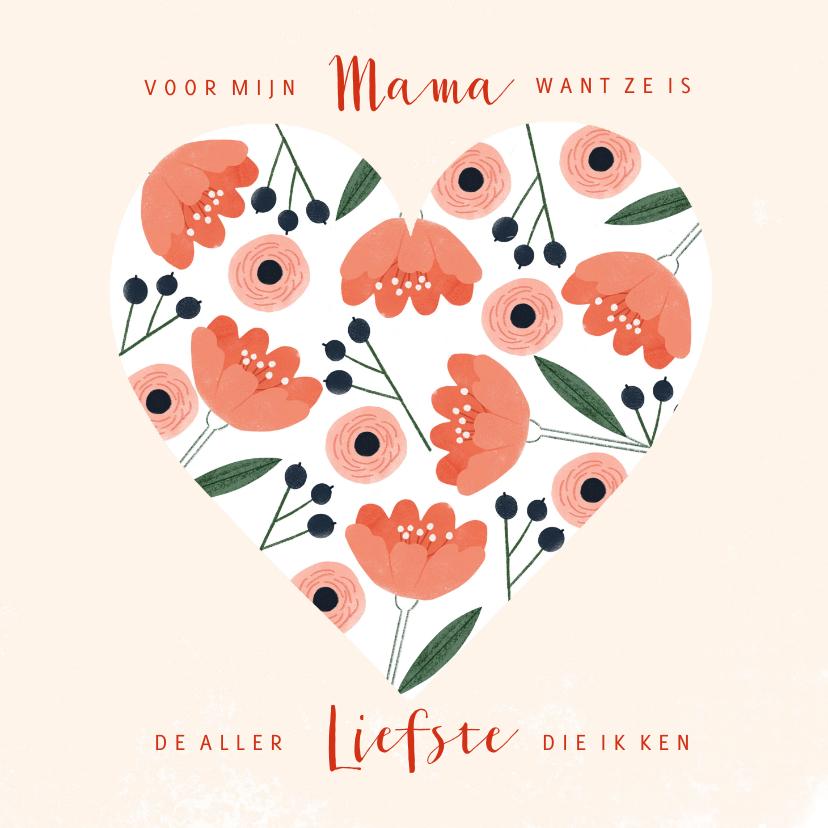 Moederdag kaarten - Moederdagkaart hart met roze pastel bloemen en besjes
