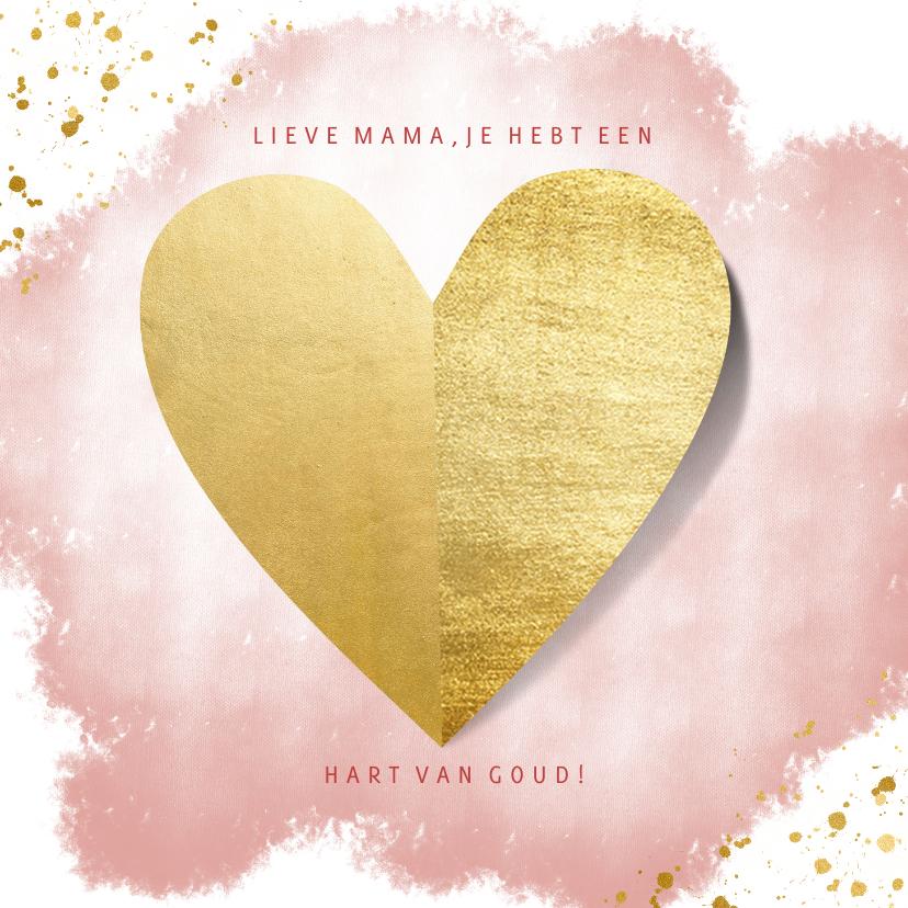 Moederdag kaarten - Moederdagkaart hart van goud op roze waterverf