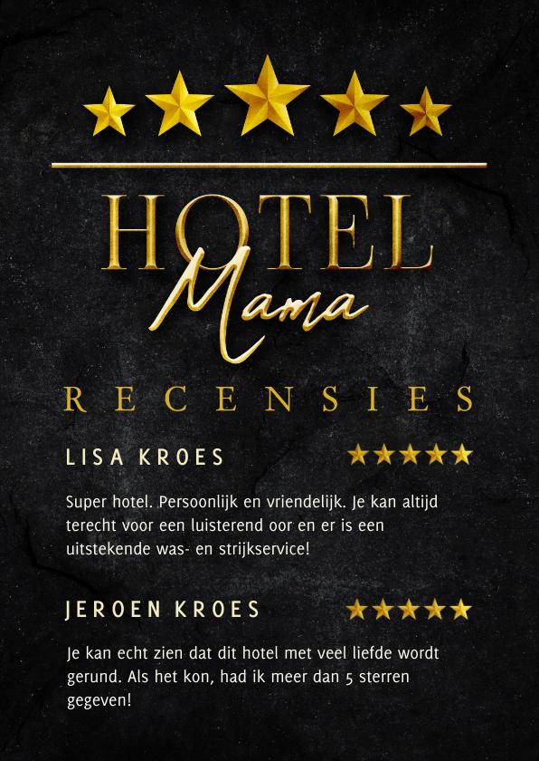 Moederdag kaarten - Moederdagkaart HOTEL MAMA vijf sterren recensies