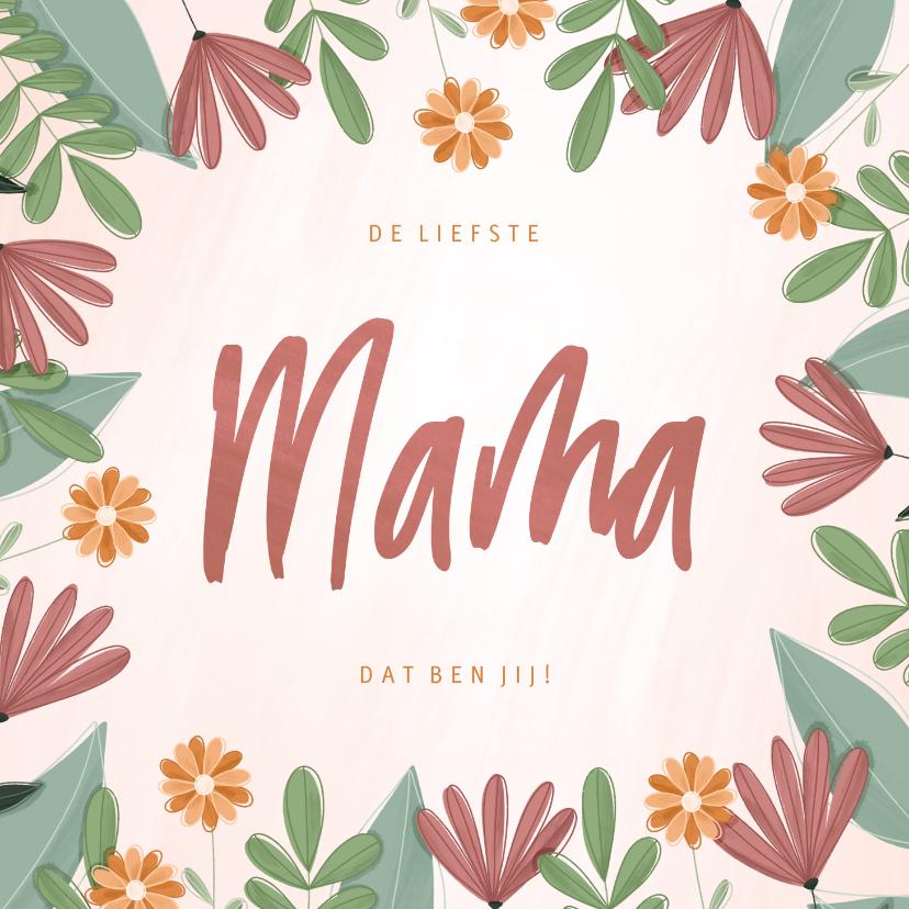 Moederdag kaarten - Moederdagkaart liefste mama met kleurrijke bloemen