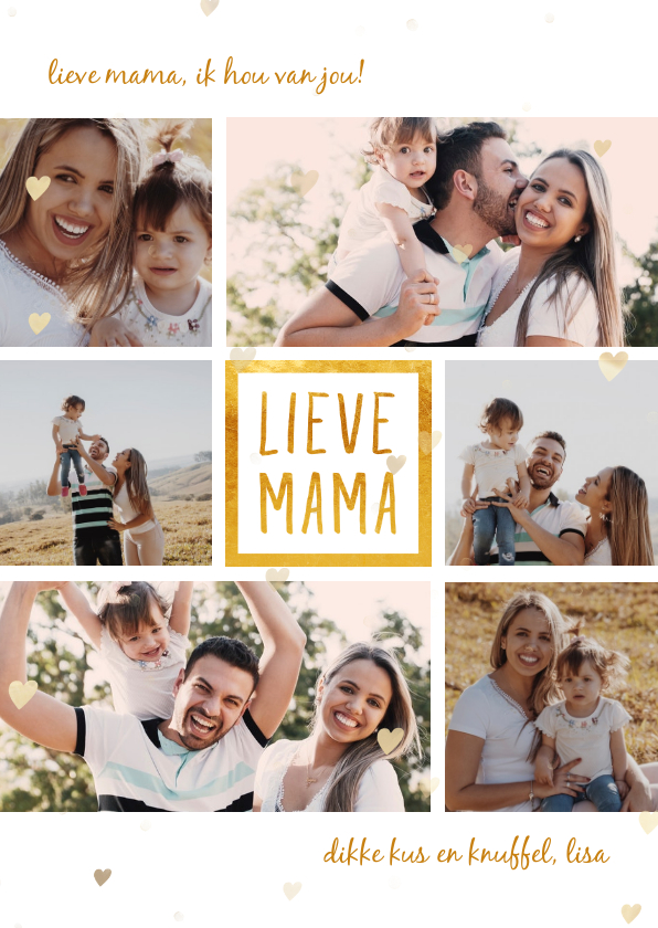 Moederdag kaarten - Moederdagkaart 'lieve mama' met 6 foto's