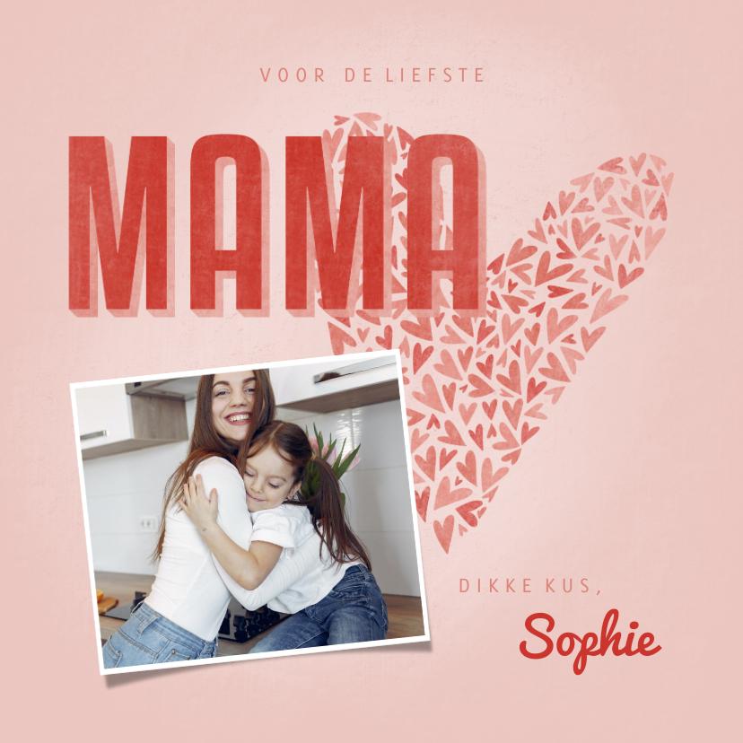 Moederdag kaarten - Moederdagkaart MAMA met hart, foto en naam