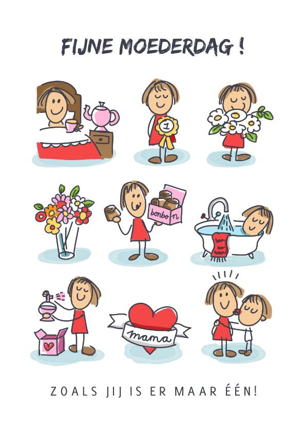 Moederdag kaarten - Moederdagkaart met 9 moederfiguurtjes
