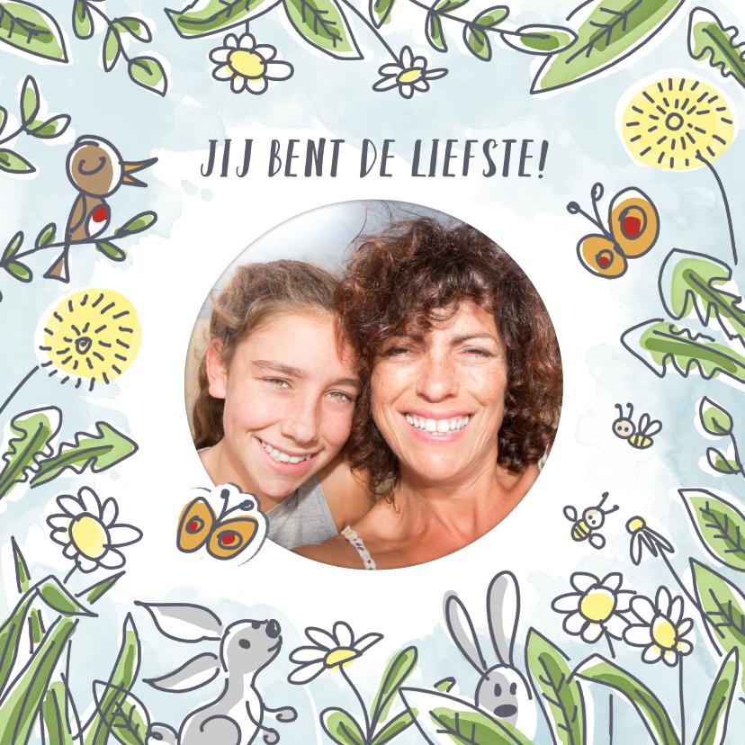 Moederdag kaarten - Moederdagkaart met bloemen lente en foto