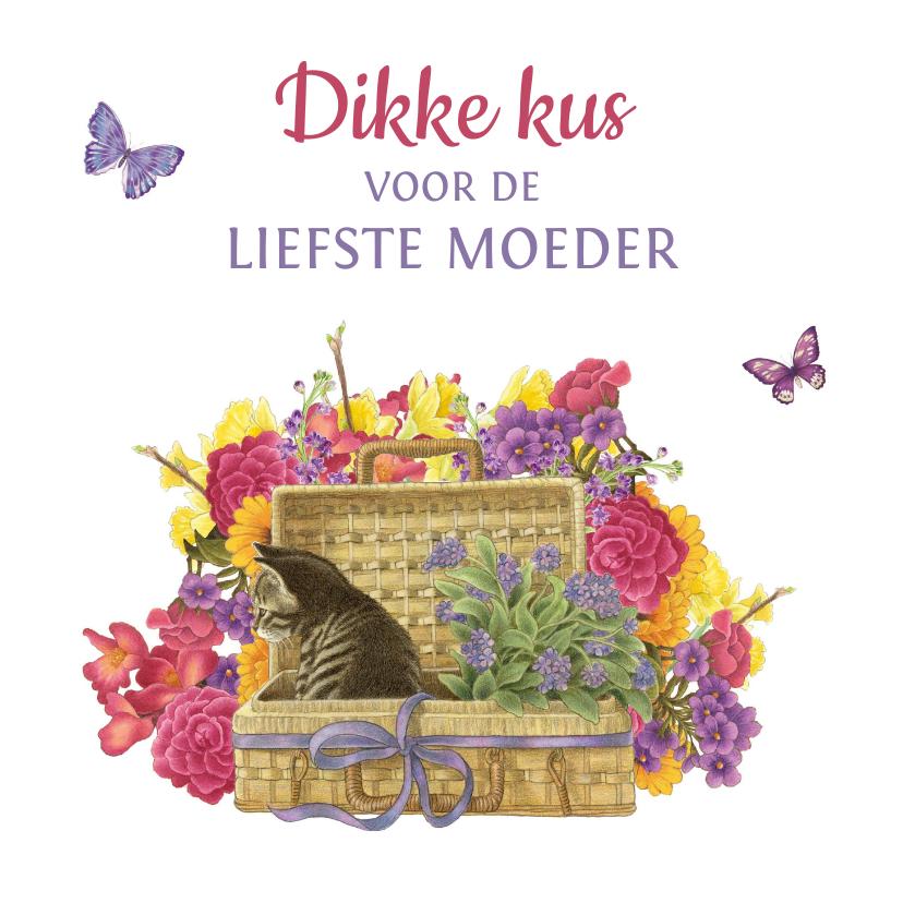 Moederdag kaarten - Moederdagkaart met fleurige bloemen en kitten