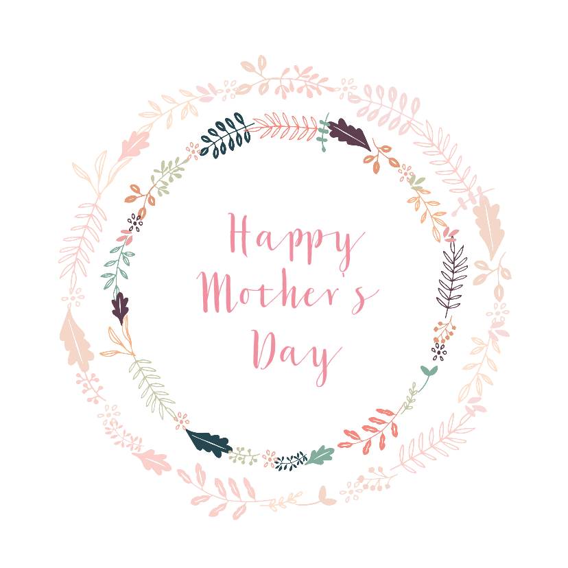Moederdag kaarten -  Moederdagkaart met fleurige bloemenkrans