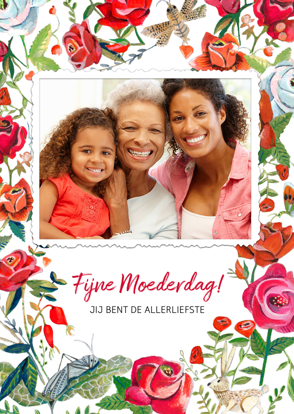 Moederdag kaarten - Moederdagkaart met foto en rode rozen