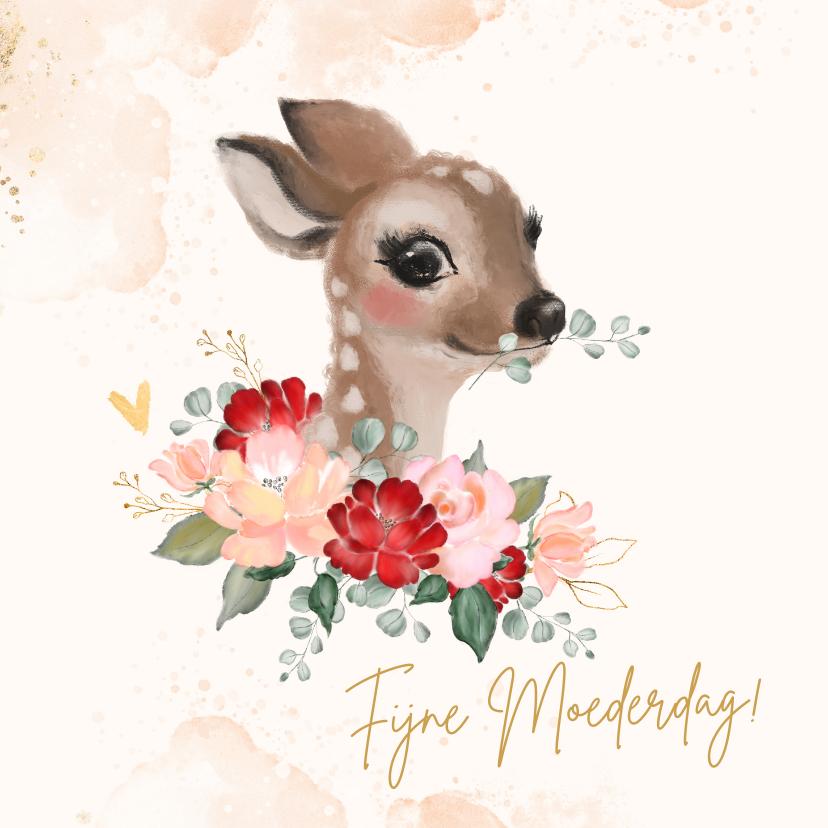 Moederdag kaarten - Moederdagkaart met hertje en rozen