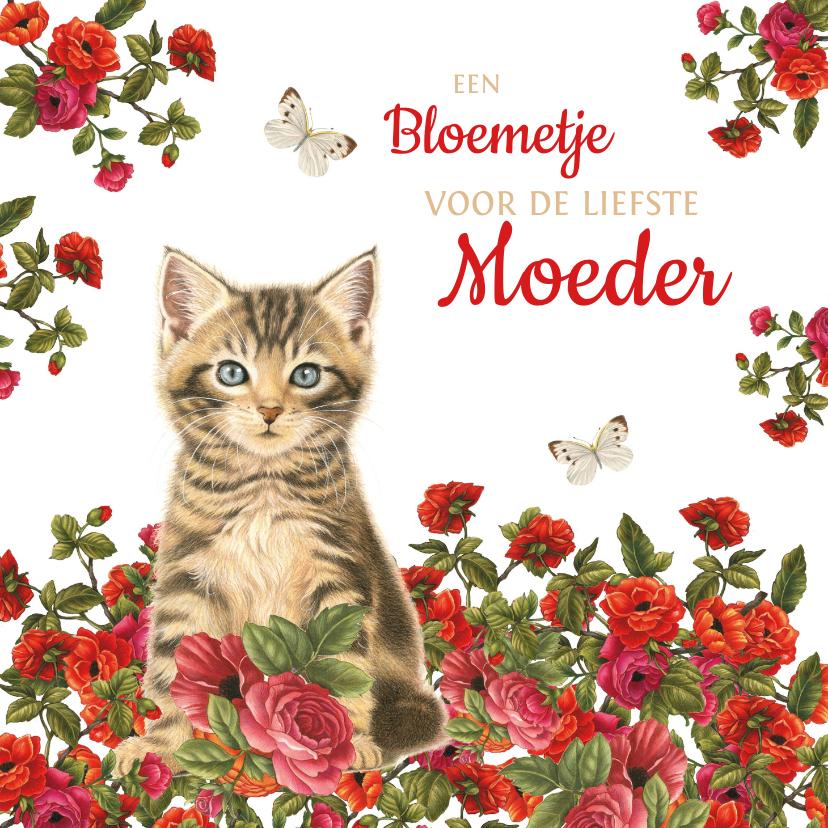 Moederdag kaarten - Moederdagkaart met kitten in rood bloemenveld
