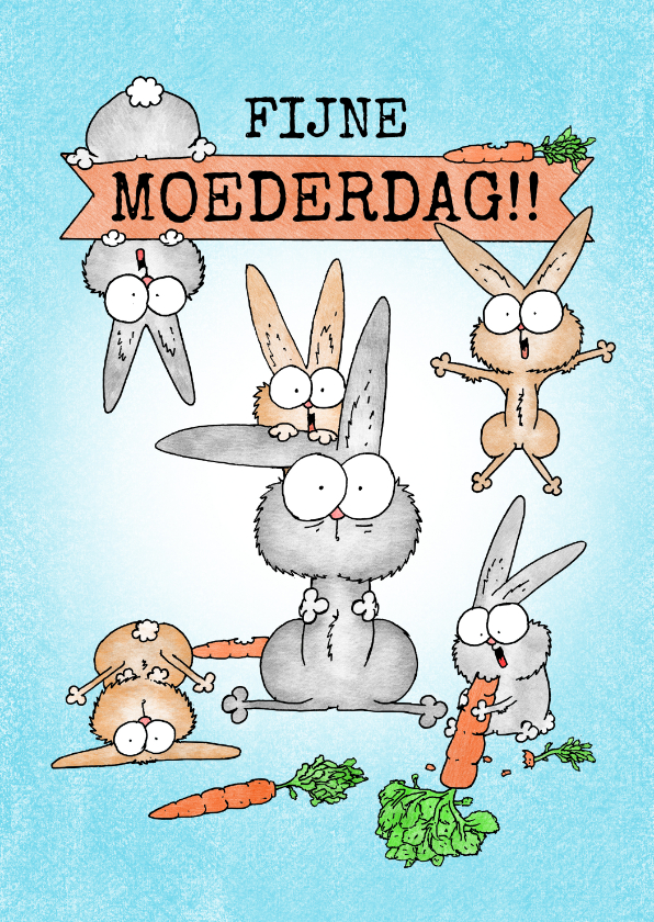 Moederdag kaarten - Moederdagkaart met moeder konijn en veel vrolijke konijntjes