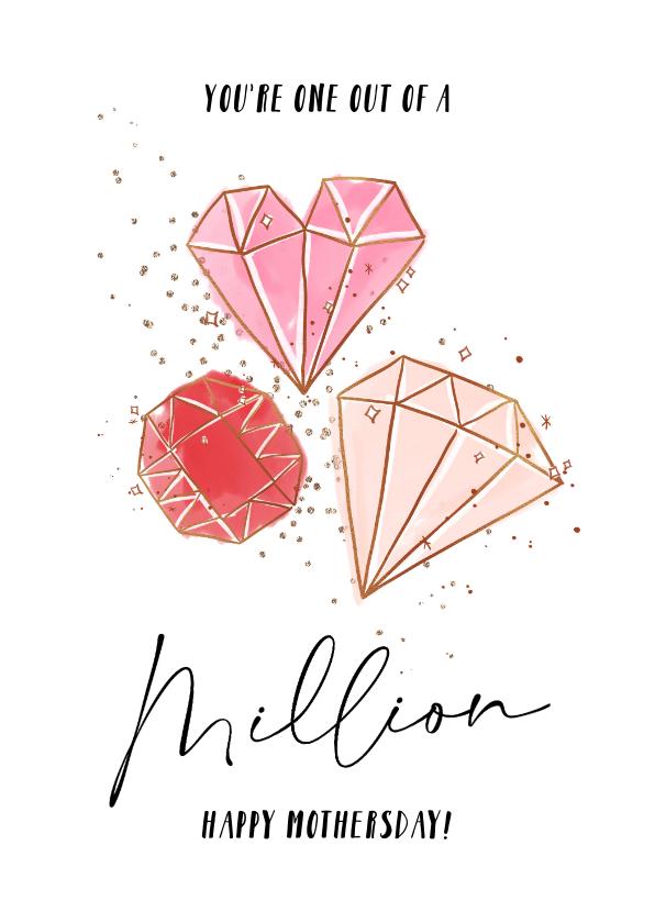 Moederdag kaarten - Moederdagkaart met mooie quote en geïllustreerde diamanten