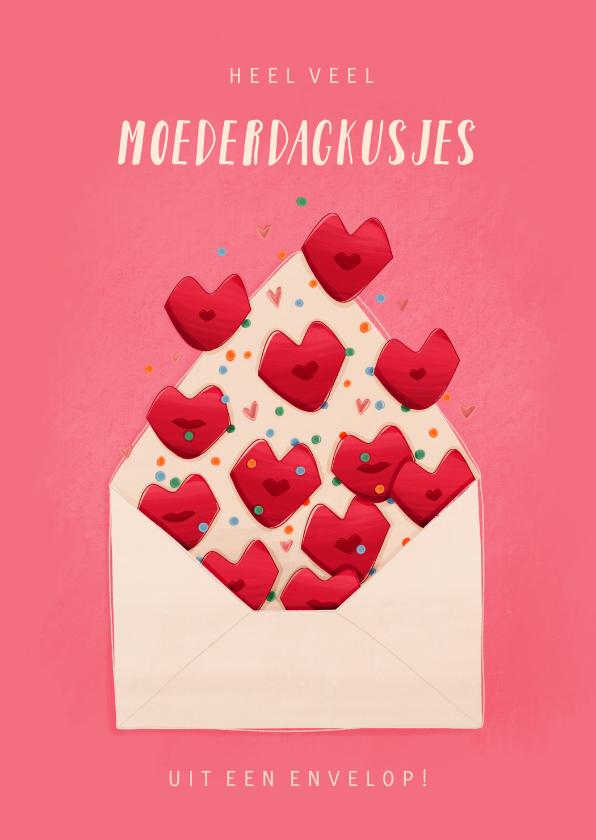 Moederdag kaarten - Moederdagkaart moederdagkusjes uit een envelop