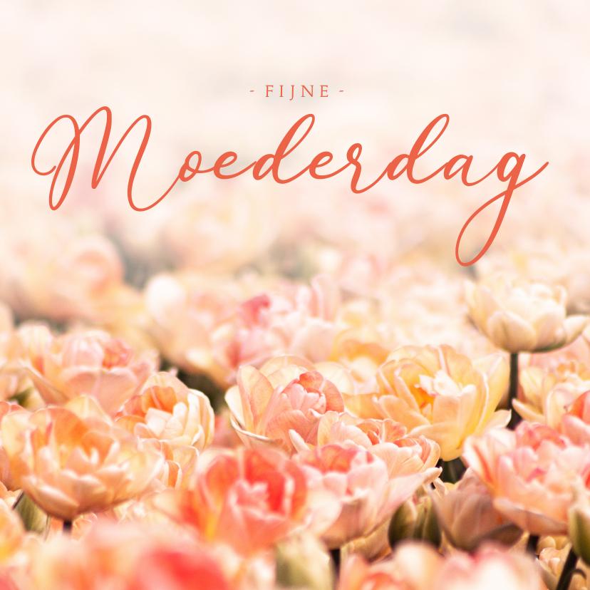 Moederdag kaarten - Moederdagkaart oranje tulpen fijne Moederdag