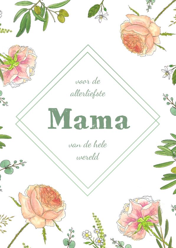 Moederdag kaarten - Moederdagkaart rozen en eucalyptus