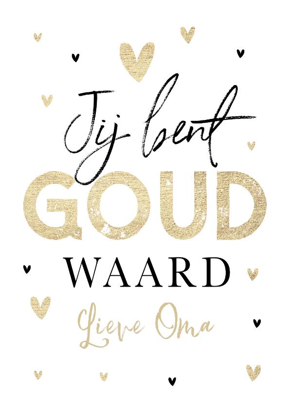 Moederdag kaarten - Moederdagkaart voor oma mama schoonmoeder met gouden hartjes