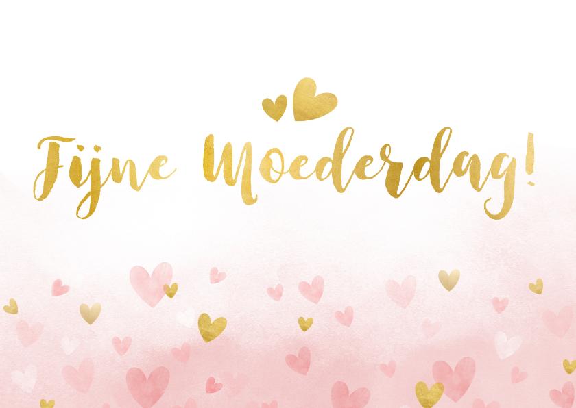 Moederdag kaarten - Moederdagkaart waterverf met roze en gouden hartjes