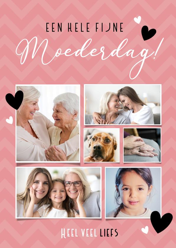 Moederdag kaarten - Roze moederdag fotocollage kaart met 6 foto's en hartjes