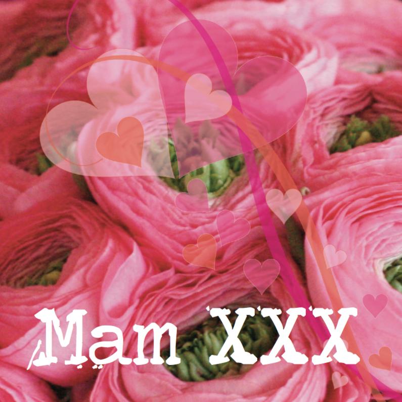 Moederdag kaarten - Roze moederdagkaart met ranonkeltjes