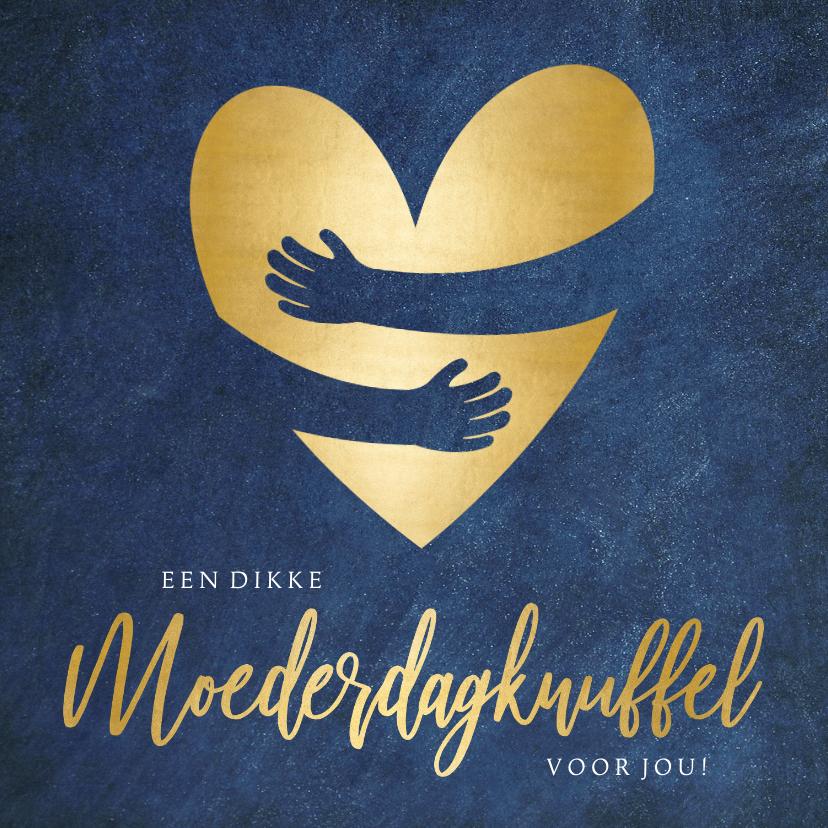 Moederdag kaarten - Stijlvolle moederdagkaart met gouden knuffel hart