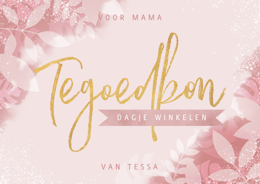 Moederdag kaarten - Tegoedbon voor moederdag met plantjes, spetters & typografie