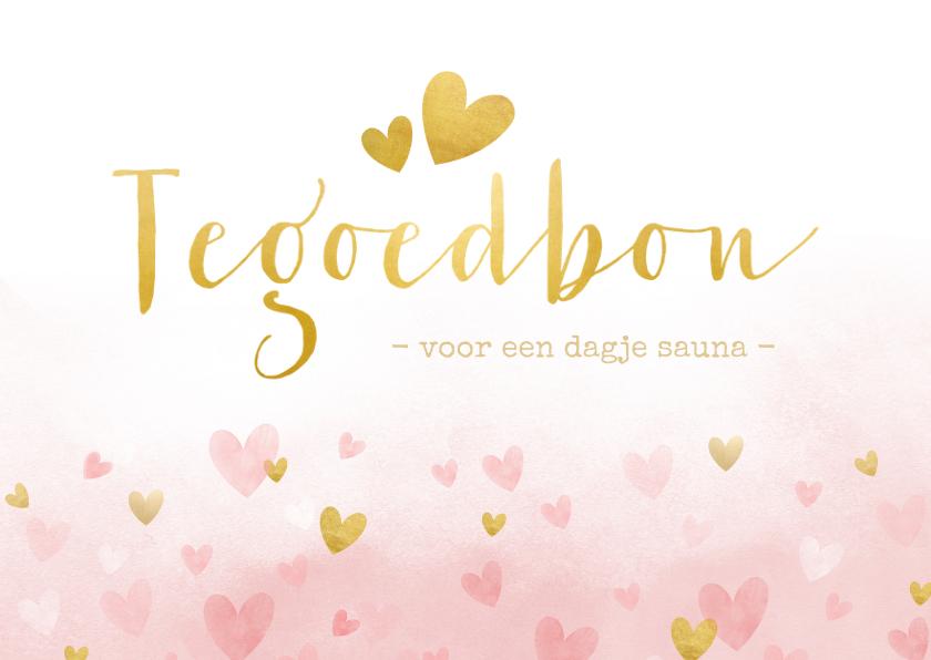 Moederdag kaarten - Tegoedbon voor moederdag met roze waterverf hartjes en goud