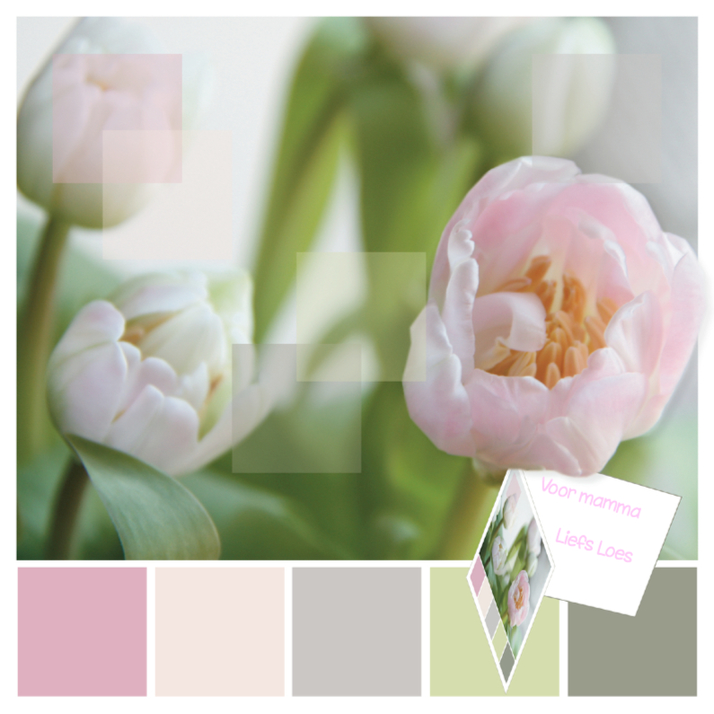 Moederdag kaarten - Tulpenkaart met kaartje en eigen tekst