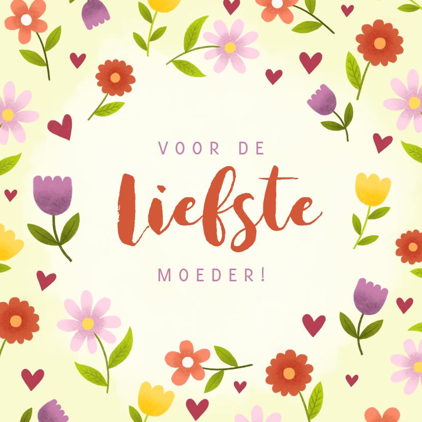 Moederdag kaarten - Vrolijke moederdagkaart met bloemen en hartjes