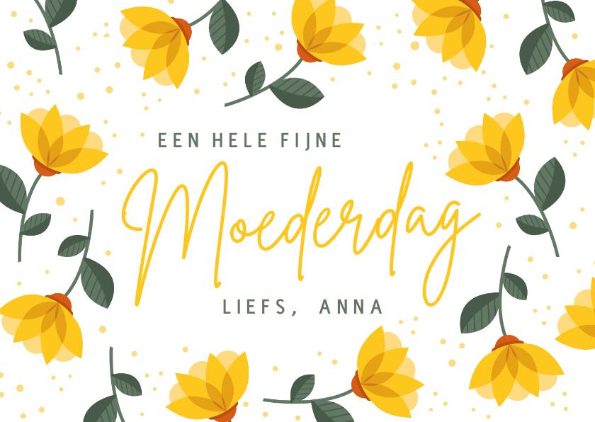 Moederdag kaarten - Vrolijke moederdagkaart met gele bloemen en tekst