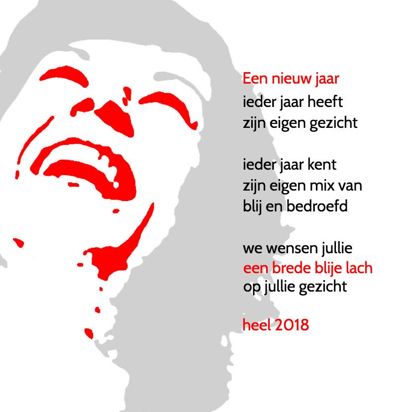 Nieuwjaarskaarten - 2018 brede blije lach
