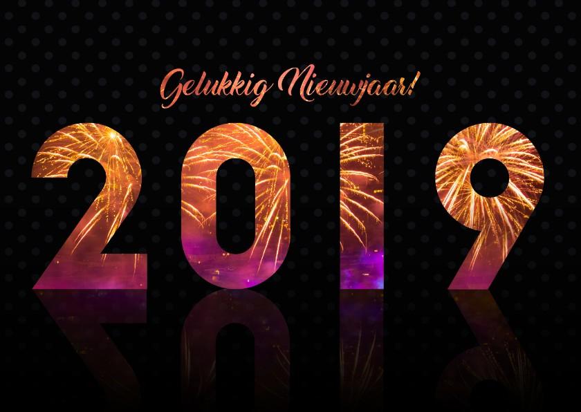 Nieuwjaarskaarten - 2019 gelukkig nieuwjaar met vuurwerk