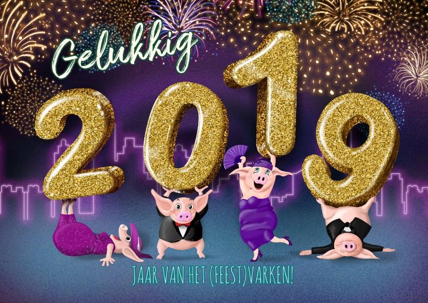 Nieuwjaarskaarten - 2019 jaar van het feestvarken