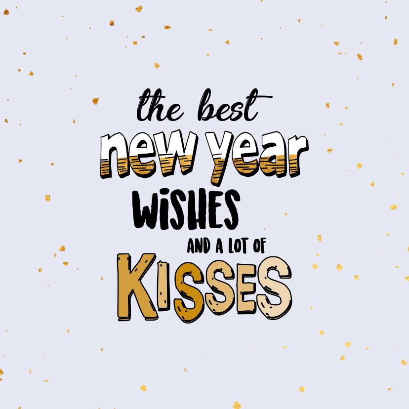Nieuwjaarskaarten - Best new year wishes - text and gold - nieuwjaarskaart