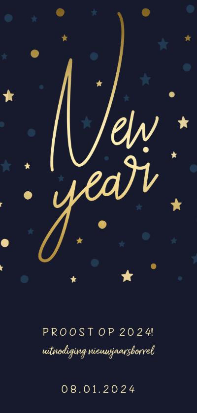 Nieuwjaarskaarten - Borrel uitnodiging 'New Year' gouden sterren en confetti
