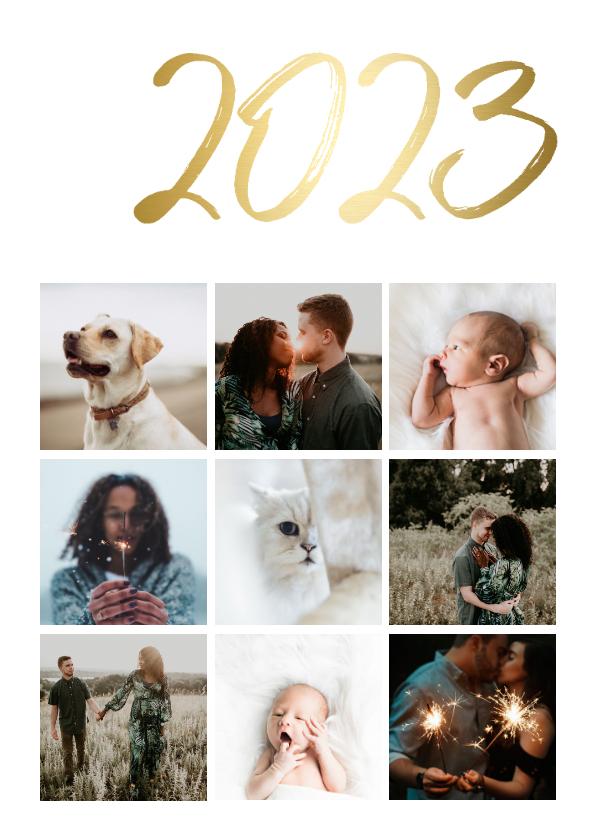 Nieuwjaarskaarten - Collagekaart stijlvol '2022' goud