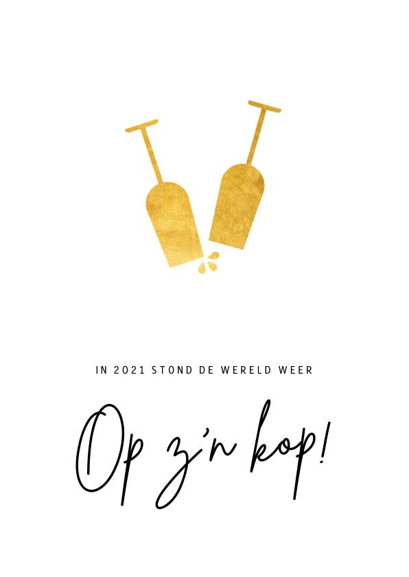 Nieuwjaarskaarten - Corona nieuwjaarskaart met knipoog - de wereld op z'n kop