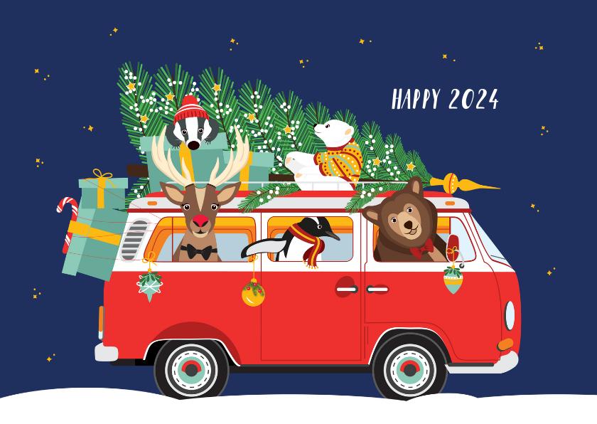 Nieuwjaarskaarten - Een vrolijk Volkswagen busje vol kerst diertjes
