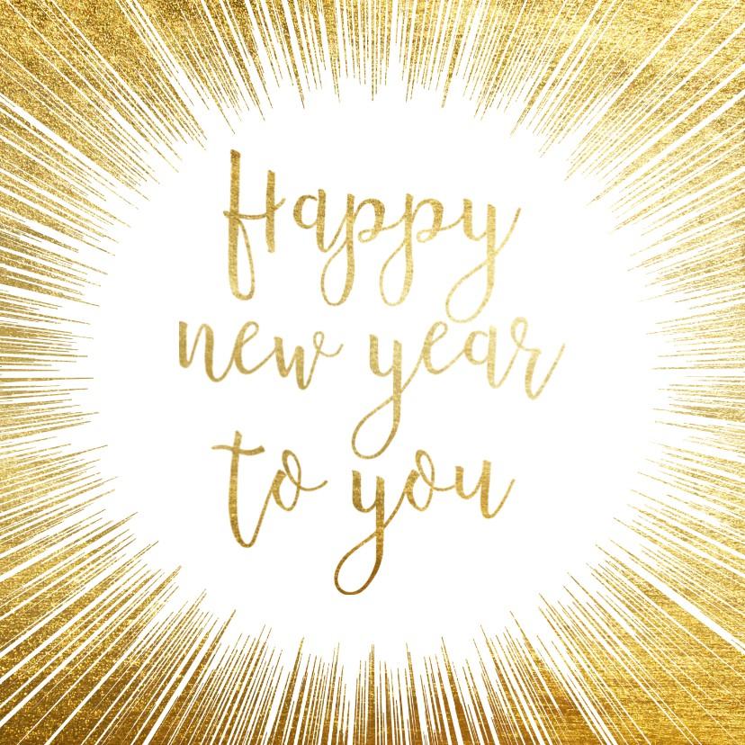 Nieuwjaarskaarten - Feestelijke nieuwjaarskaart met gouden ster en typografie