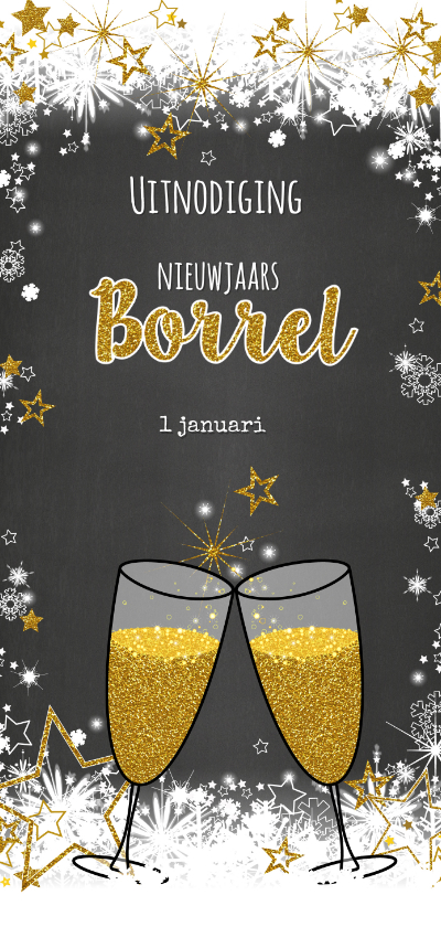 Nieuwjaarskaarten - Feestelijke uitnodiging borrel sneeuw en sterren