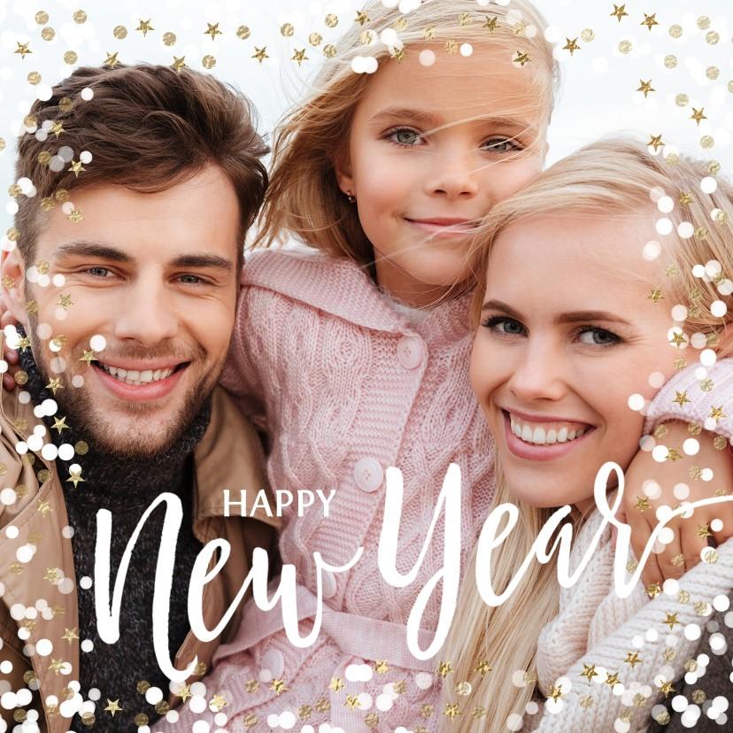 Nieuwjaarskaarten - Foto nieuwjaarskaart confetti
