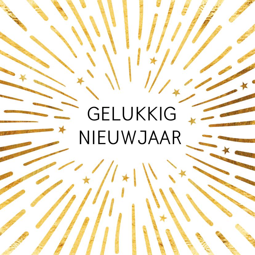 Nieuwjaarskaarten - Gouden vuurwerk nieuwjaarskaart