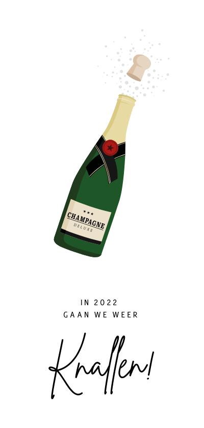 Nieuwjaarskaarten - Grappige nieuwjaarskaart champagne - knallen in 2022