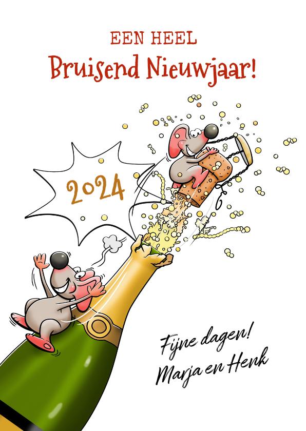 Nieuwjaarskaarten - Grappige nieuwjaarskaart met muizen en champagne