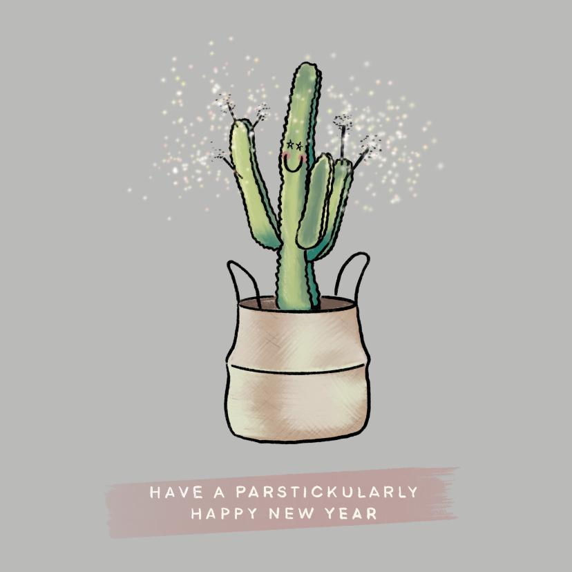 Nieuwjaarskaarten - Grappige nieuwjaarskaart van vrolijke cactus met sterretjes