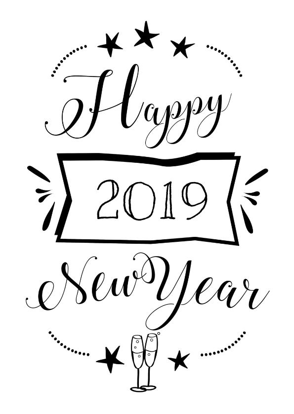 Nieuwjaarskaarten - Happy 2019 new year zwart wit