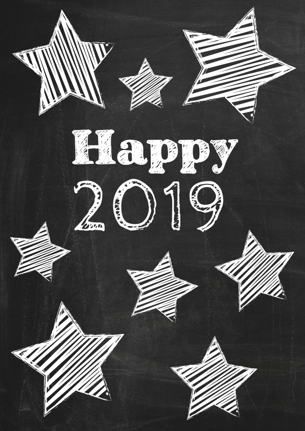 Nieuwjaarskaarten - Happy New Year 2019 schoolbord-ByF