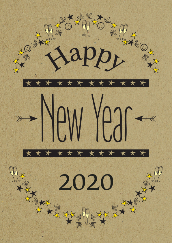 Nieuwjaarskaarten - Happy New Year 2020 met champagne en sterren