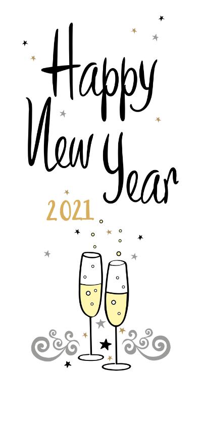 Nieuwjaarskaarten - Happy New Year champagne bubbels en sterren met jaartal