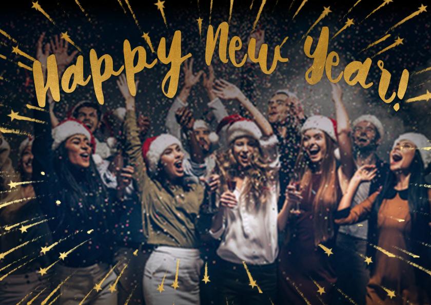 Nieuwjaarskaarten - Happy New Year geel foto - BK