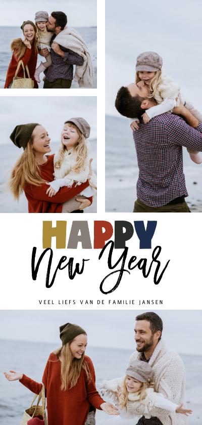 Nieuwjaarskaarten - Happy New Year letters rode achterkant